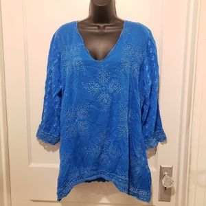 Johnny Was Bright Blue Tunic Top